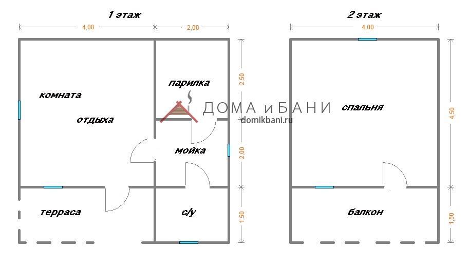 план схема бани из бруса 6х6 с мансардным этажом