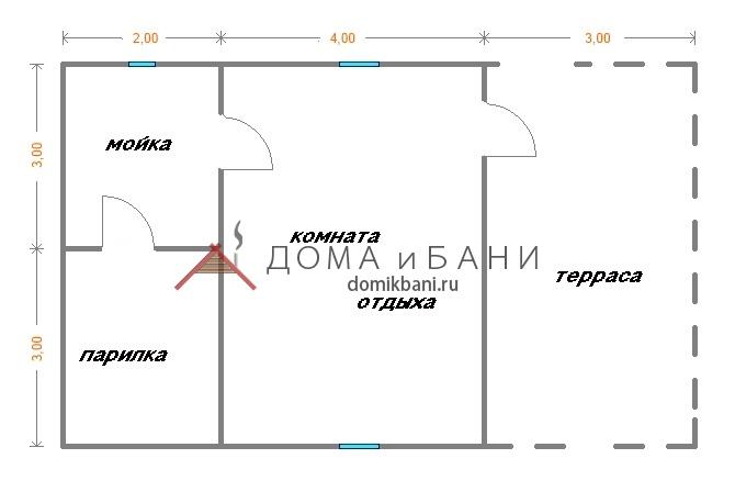 схема бани из бруса 6х9 с верандой 1 этаж