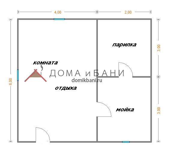 схема одноэтажной баньки 6х6