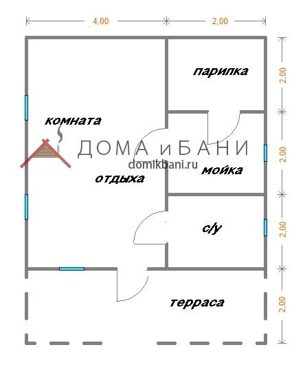 план-схема одноэтажной бани из бруса 6 на 8