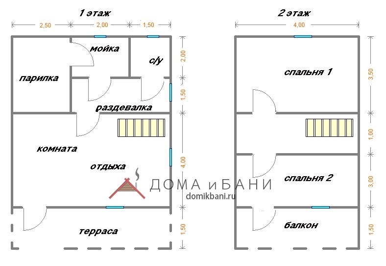 схема бани 6 на 9 с мансардой, балконом и террасой