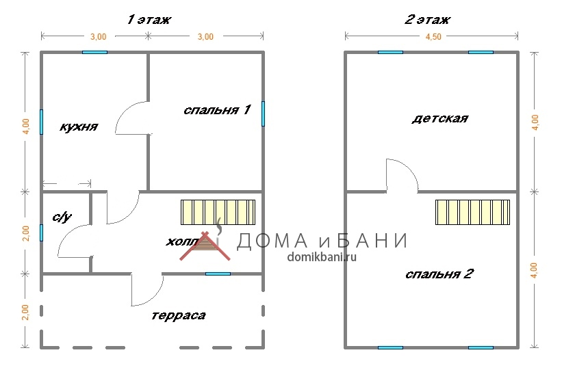 планировка дома 6x8