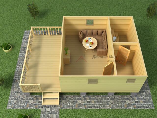 план баньки из бруса 6 на 9 с верандой 1 этаж