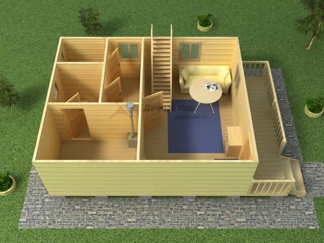 план бани 6х9 с мансардой, балконом и террасой