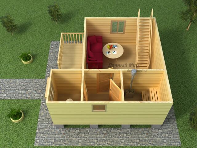 трехмерный план бани из бруса 6х6 с мансардным этажом