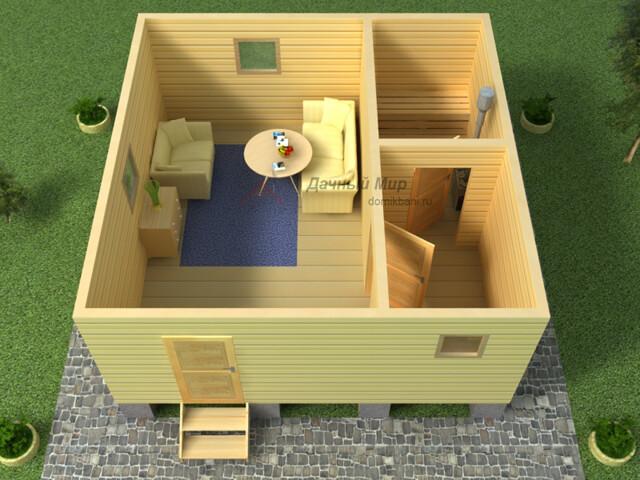 проект одноэтажной баньки 6х6