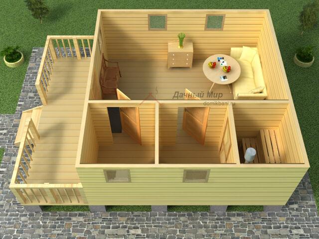 3д план одноэтажной бани из бруса 6 на 8