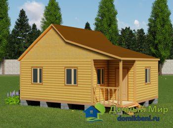 Одноэтажный дом 6х8 с террасой