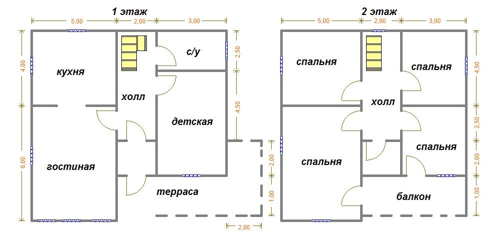 Rozloženie dvojpodlažného domu 10x10