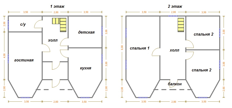 планировка сруба 8х9