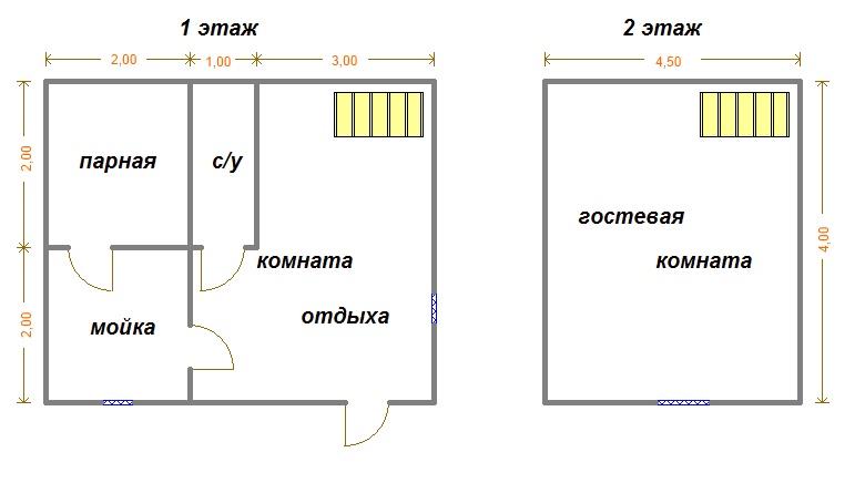 планировка бани 6x4 с туалетом