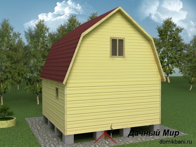 Баня брусовая 6х6 со спальной комнатой сзади