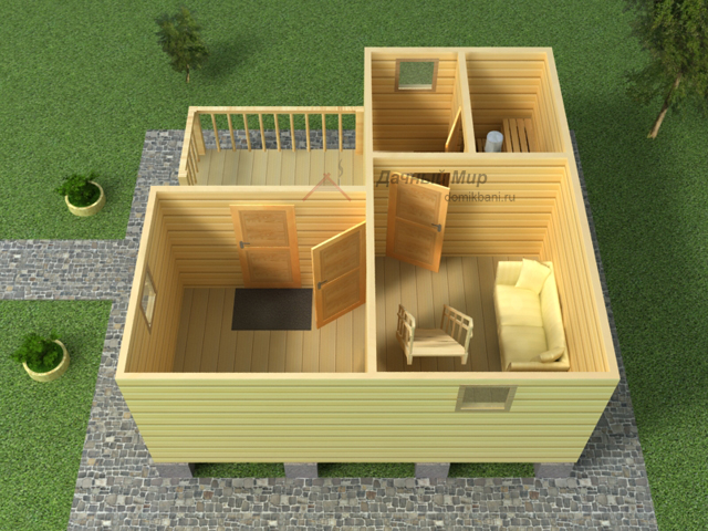 Внутренняя планировка проекта бани из бруса