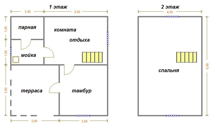 Планировка бани с комнатой отдыха