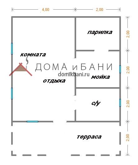 план одноэтажного Сруба бани 6х8