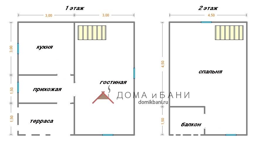 мансардный Сруб дома 6х6 план