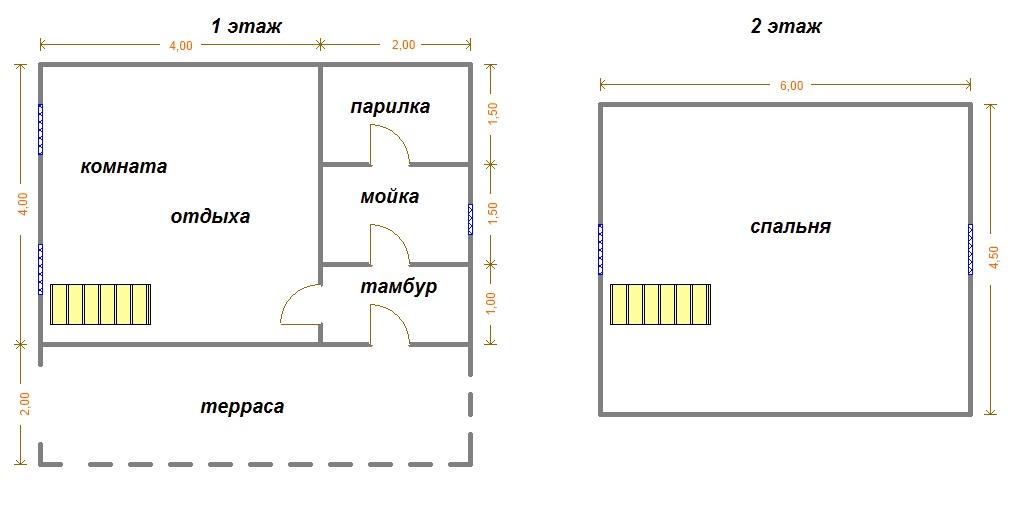 чертеж бани из профилированного бруса 6х6