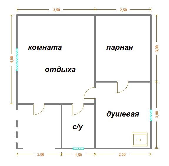 планировка бани 6х6