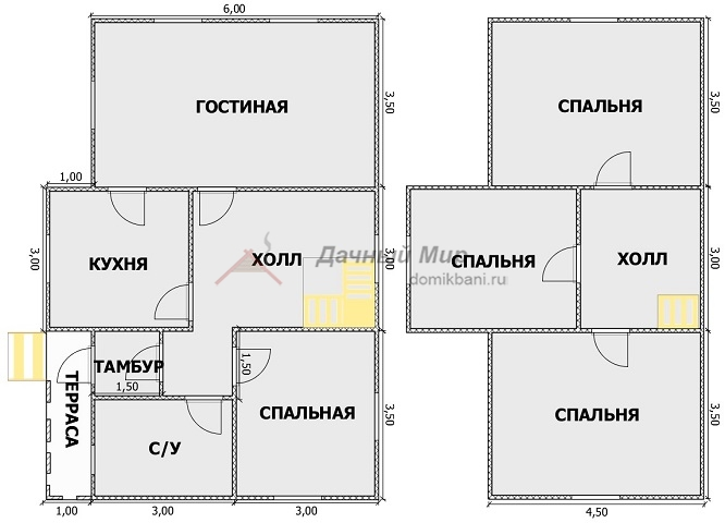 планировка комнат каркасного домика 7 на 10 с мансардой