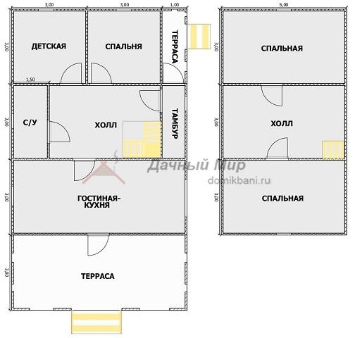 планировка этажей каркасного дома с террасой и мансардой 7 на 12