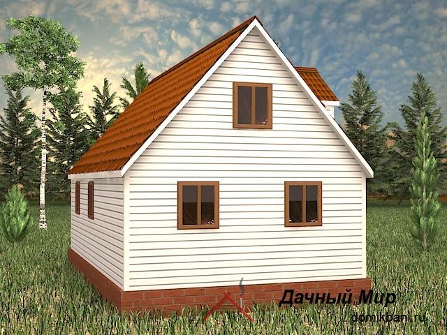 каркасный дом 7 на 10 с мансардой