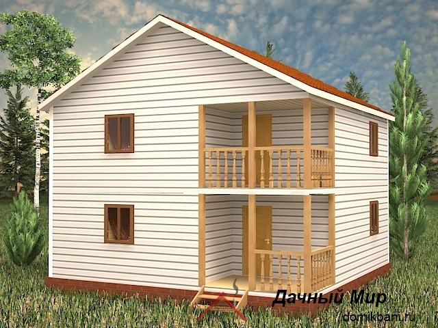 Каркасный двухэтажный дом 8 на 8