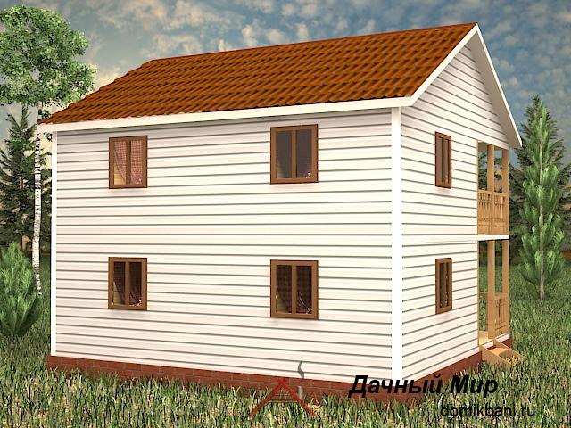 Каркасный двухэтажный дом 8 на 8 с балконом