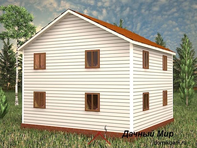 Каркасный дом 8 на 8 с балконом