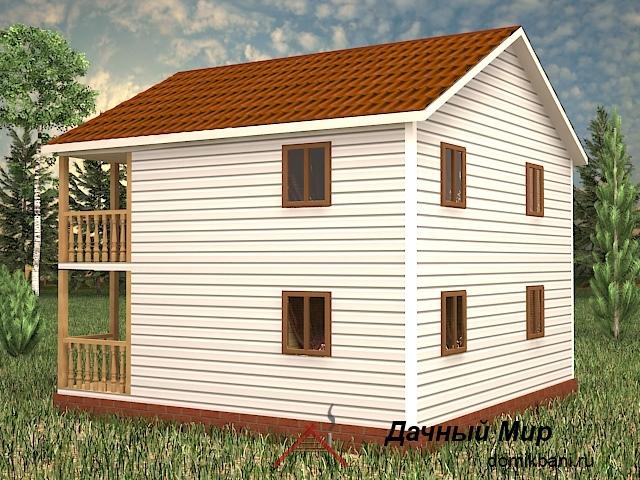 Каркасный дом 8 на 8 с балконом и крыльцом
