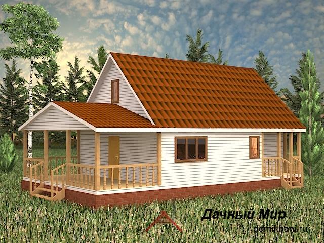 Одноэтажный каркасный дом террасой и мансардой