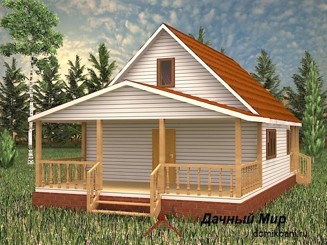 мансардный каркасный дом террасой и мансардой