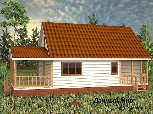мансардный каркасный дом террасой и мансардой 7 на 12