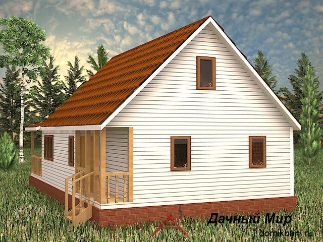 каркасный дом с террасой и мансардой 7 на 12
