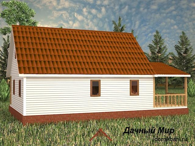 проект каркасного дома с террасой и мансардой 7 на 12