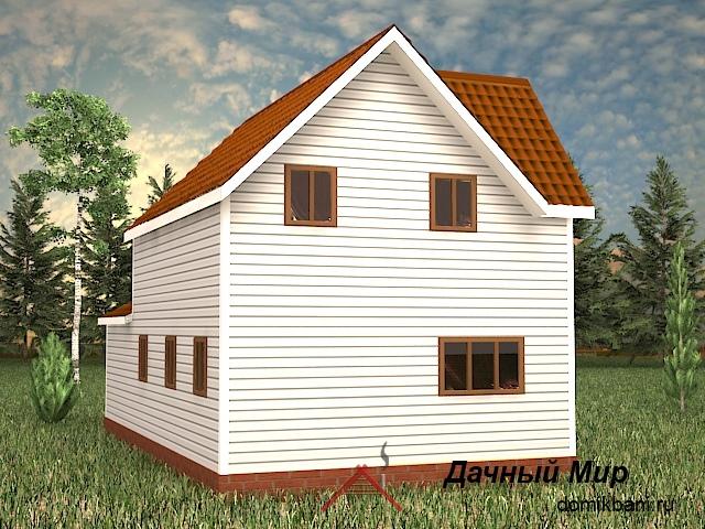 вид каркасного двухэтажного дома с гаражом 8 на 12
