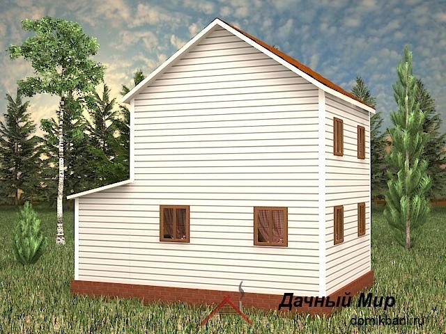 Двухэтажный каркасный дом 6 на 8 с крыльцом