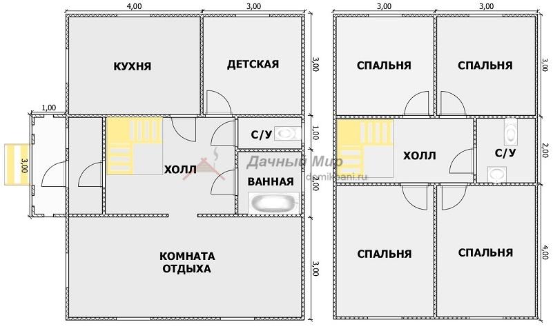 планировка комнат двухэтажного щитового дома 7 на 9