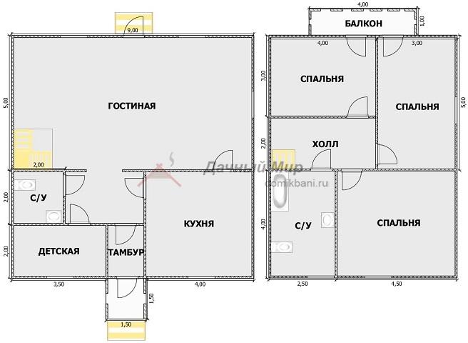 план каркасного дома 9 на 9 с мансардой