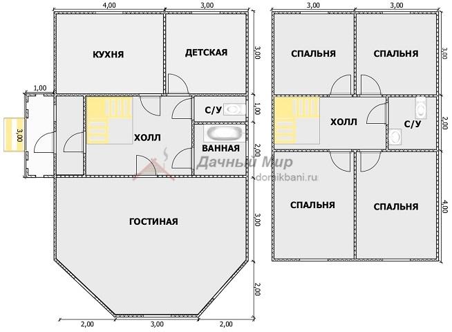 планировка комнат каркасного дома с эркером и мансардой 7 на 11