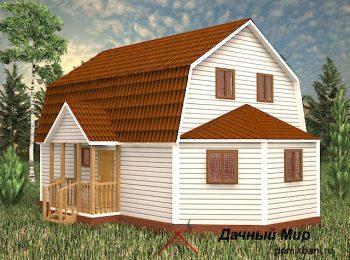 Каркасный дом 7х11 с мансардной крышей