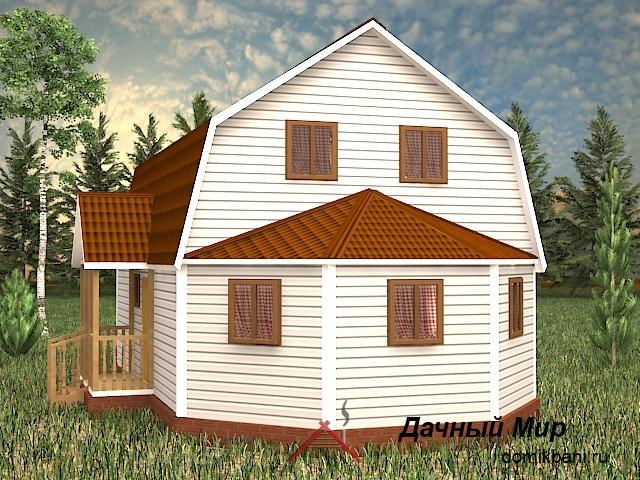 Щитовой дом с эркером 7 на 11
