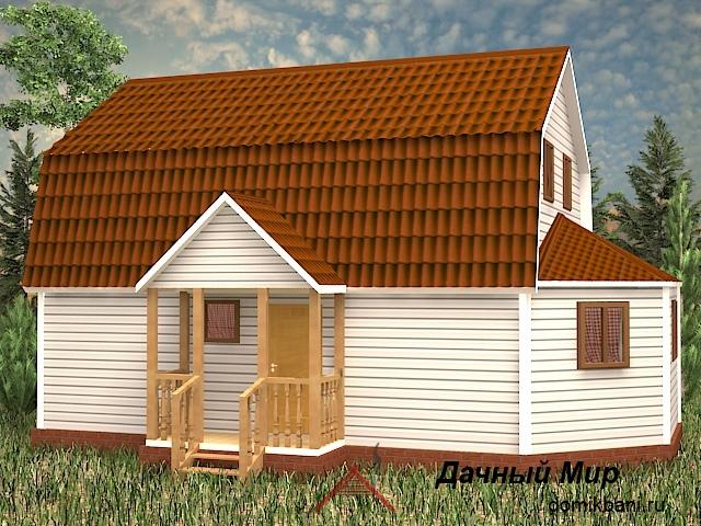 Щитовой дом с эркером и мансардой 7 на 11