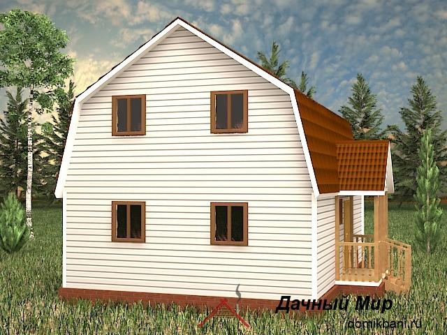 проект щитового дома с эркером и мансардой 7 на 11