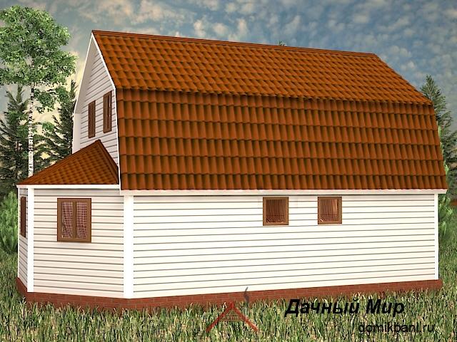 проект каркасного дома с эркером и мансардой 7 на 11