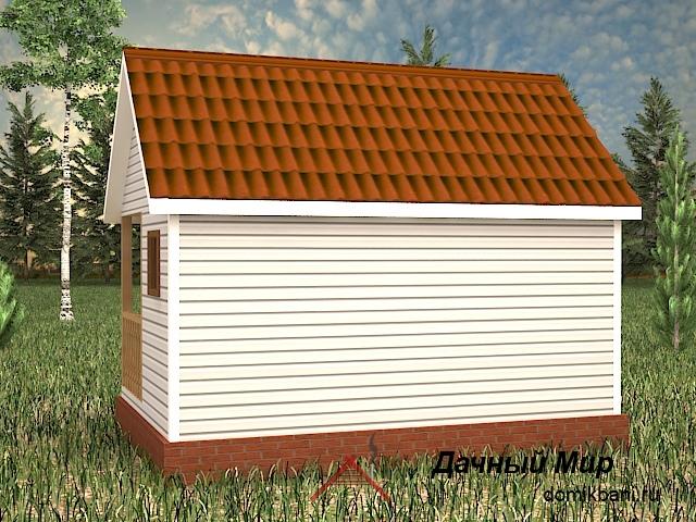 проект каркасной одноэтажной бани 6 на 4