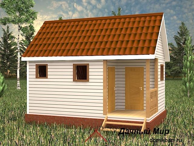 проект каркасной одноэтажной баньки 6 на 4 с крыльцом