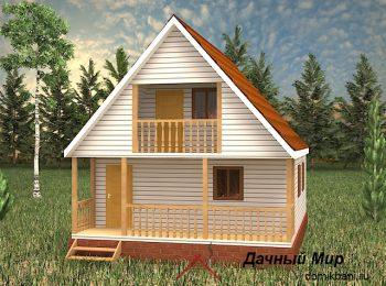 Каркасная баня 6 на 9 с террасой и балконом