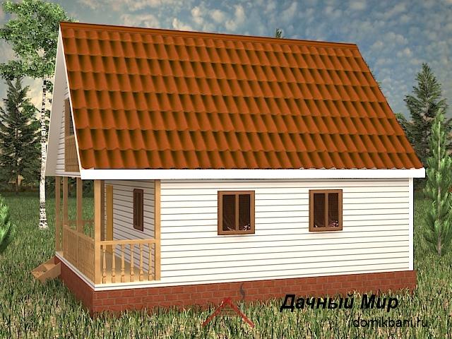 Каркасная банька 6 на 9 с террасой и балконом