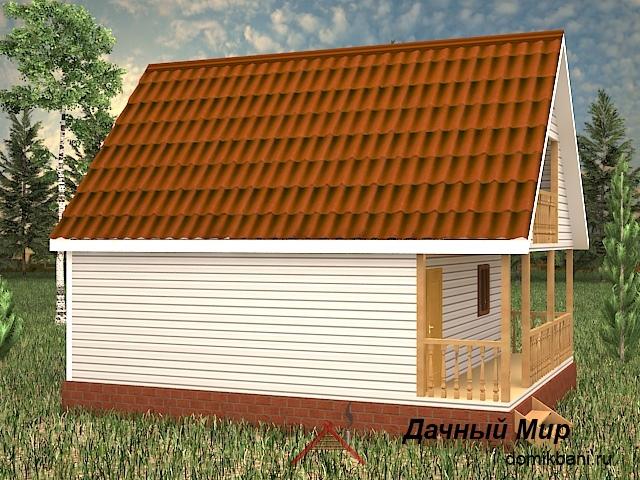 Каркасная мансардная банька 6 на 9 с балконом