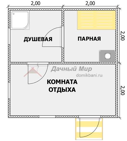 схематичный план каркасной одноэтажной баньки 4 на 4